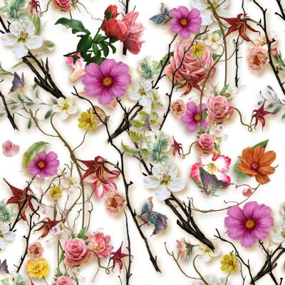 Vinilo Watercolor painting of leaf and flowers, seamless pattern on white background