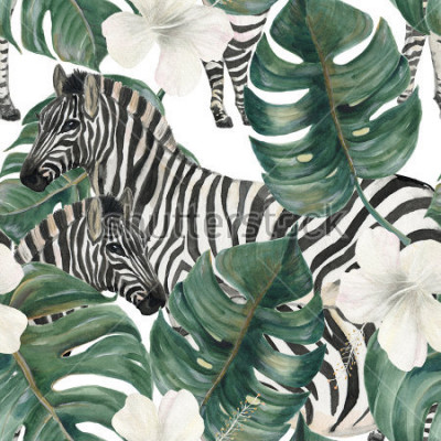 Vinilo Watercolor painting seamless pattern with tropical deliciosa leaves, hibiscus flowers and zebra
