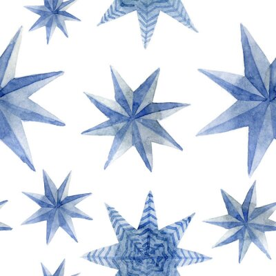 Vinilo Watercolor pattern of Christmas blue stars decoration elements. Hand-drawn illustration on the white background
