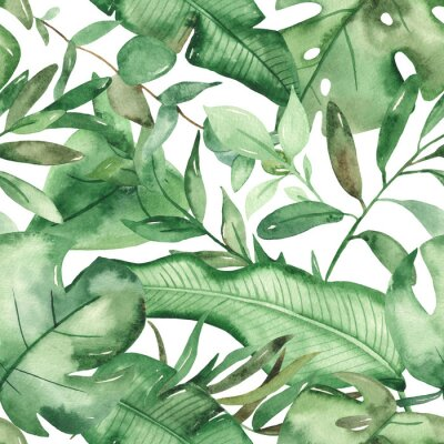 Vinilo Watercolor seamless pattern green tropical leaves