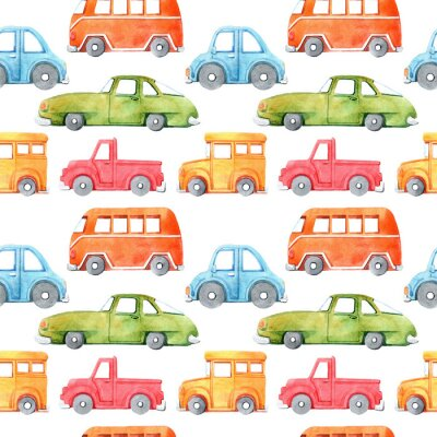 Vinilo Watercolor seamless pattern with cartoon car. Funny cartoon image. Travel conception. Hand painted retro car pattern. Watercolor vintage white background. . Multicolor car texture.