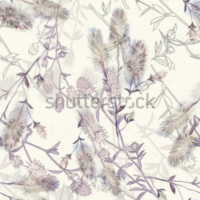 Vinilo Watercolor seamless pattern with rabbitfoot clover flowers