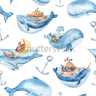 Vinilo Watercolor seamless pattern with sea life. Wallpaper, textile pattern for kids.