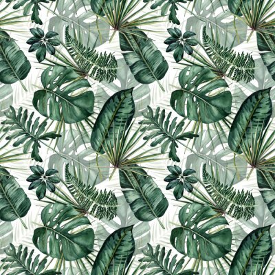 Vinilo Watercolor seamless pattern with tropical leaves: palms, monstera, passion fruit.