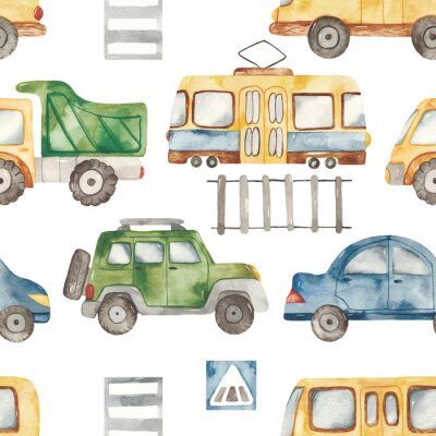 Vinilo Watercolor seamless pattern with urban cartoon cute transport. Texture for boyish design, birthday, wallpaper, scrapbooking, prints, clothes, fabrics, textiles, packaging.