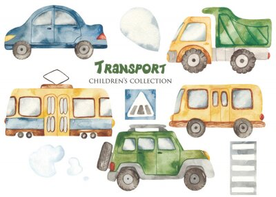 Vinilo Watercolor set with a cute cartoon kids transport for a boy. Cars, bus, tram, truck for baby shower, cards, invitations, prints, logos.
