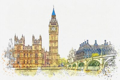 Vinilo Watercolor sketch or illustration of a beautiful view of the Big Ben and the Houses of Parliament in London in the UK