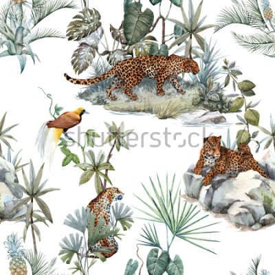 Vinilo Watercolor tropical pattern with a leopard animal, a wild leopardle walking through the jungle, a leopard with a cub lying on the beds. Birds of Paradise on the tree. Palm tree and Monsterra plant.