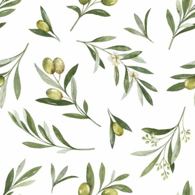 Vinilo Watercolor vector seamless pattern of olive branches and leaves.