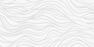 Vinilo Wavy background. Monochrome backdrop with curved stripes. Repeating abstract waves. Stripe texture with many lines. Black and white illustration