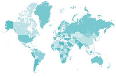 Vinilo Welt Karte blau mit Länder Grenzen Vektor Grafik