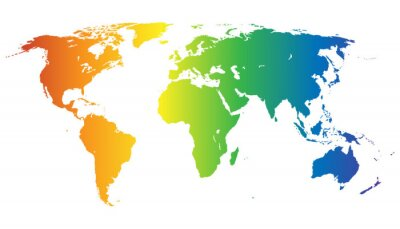 Vinilo Weltkarte en Regenbogenfarben - vector