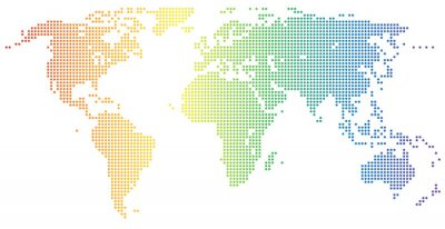 Vinilo Weltkarte - gepunktet en el foso Regenbogenfarben