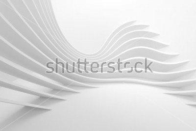Vinilo White Architecture Circular Background. Modern Building Design. Abstract Curved Shapes. 3d Rendering