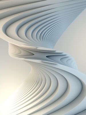Vinilo White stripe pattern futuristic background. 3d render illustration