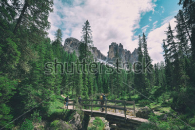Vinilo wooden bridge and saent waterfall on italian alps, Ambrizola mountains in Dolomites