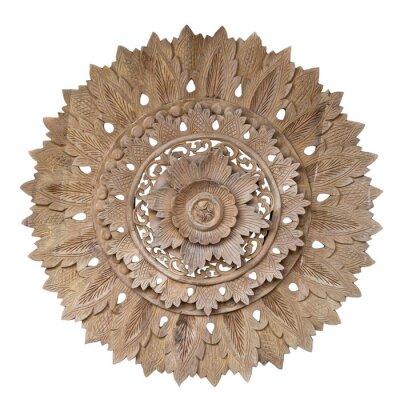 Vinilo Wooden pattern of flower on carve teak wood in circle shape.