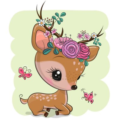Vinilo Woodland Deer with flowers and butterflies on a green background