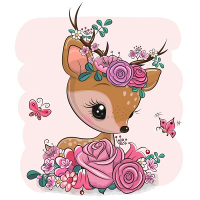 Vinilo Woodland Deer with flowers and butterflies on a pink background
