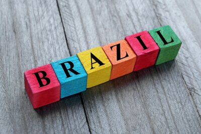 Vinilo word Brazil on colorful wooden cubes