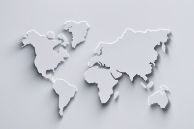 Vinilo World map 3d in white colors with shadows and glowing edges. 3d illustration.