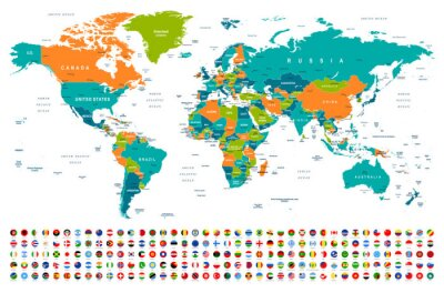 Vinilo World Map and Flags - borders, countries and cities -illustration