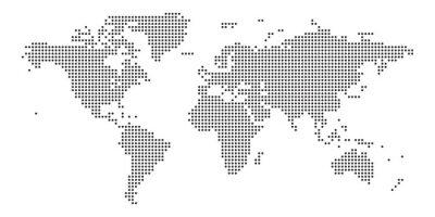 Vinilo World map black point white background isolated . Vector illustration.