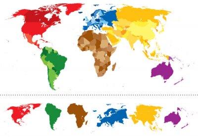 Vinilo World map continents multicolored