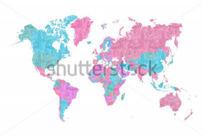 Vinilo World Map in pink and blue glitter and sparkles, with plenty of space to insert your own quote under the image.
