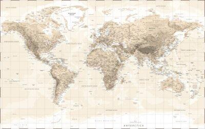 Vinilo World Map Physical - Vintage Retro Old Style - Vector Detailed Illustration
