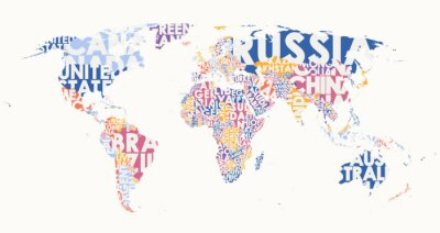 Vinilo World map text composition, name of countries in color territories, Typographic vector illustration