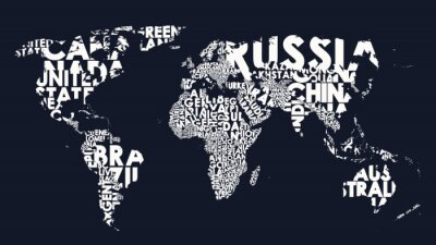 Vinilo World map text composition of country names, typographical black and white vector illustration