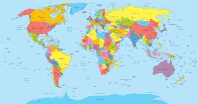 Vinilo World map with countries, country and city names
