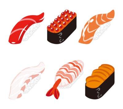 Vinilo 寿司 六 白 ク ッ ク セ ッ ト - Sushi seis objetos conjunto