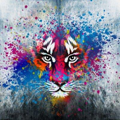 Vinilo кляксы на стене.фантазия с тигром