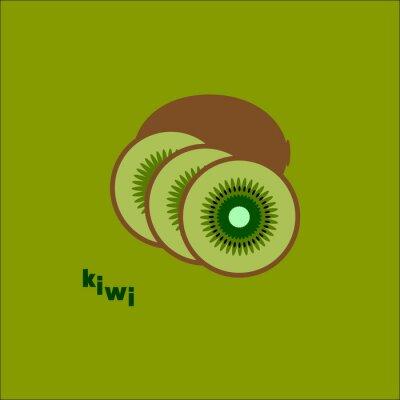 Vinilo Разрезанный киви на зеленом фоне