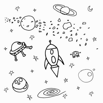 Vinilo Космические объекты на белом фоне