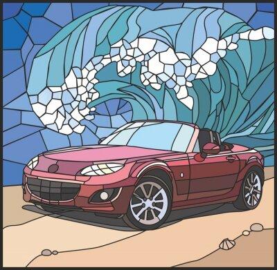Vinilo Автомобиль на берегу моря (Coche en la playa)