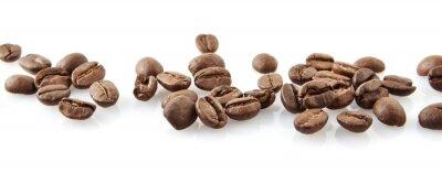 Vinilo Granos de café dispersados en línea en blanco