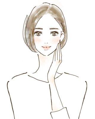 Vinilo 女性 イラスト 幸せ 美容 健康的 スキンケア 美魔女