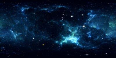 Vinilo Panorama de nebulosa espacial de 360 grados, proyección equirectangular, mapa del entorno. Panorama esférico HDRI. Fondo del espacio con nebulosa y estrellas