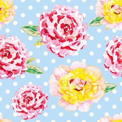 Vinilo Peonies rosados y amarillos en el fondo azul claro del lunar. Acuarela patrón transparente con flores. Shabby chic.