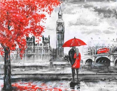 Vinilo Pintura de .oil en la lona, opinión de Londres de la calle, río y autobús en el puente. Ilustraciones. Gran Ben. Hombre y mujer bajo un paraguas rojo