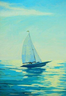 Vinilo Yate, vela, mañana, mediterráneo, playa, pintura