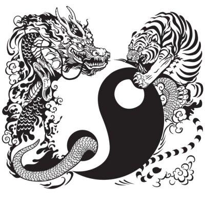 Vinilo yin yang con el dragón y el tigre