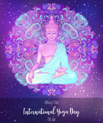 Vinilo Yoga card design. Colorful template for spiritual retreat or yoga studio. Ornamental business cards, oriental pattern. Vector illustration.