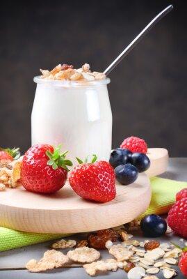 Vinilo Yogur con muesli y fruta blanda