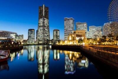 Vinilo Yokohama paisaje urbano en la noche