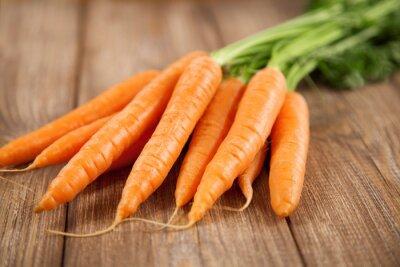 Vinilo Zanahoria en una mesa de madera