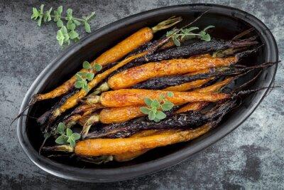 Vinilo Zanahorias frescas asadas Horizontal Vista desde arriba
